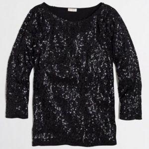 JCrew Black Sequin Blouse